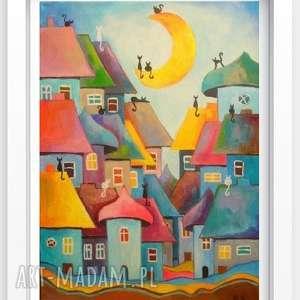 Obraz na płótnie - BAJKOWE MIASTECZKO KOTÓW 40/30 cm, abstrakcja, obraz, domki, koty