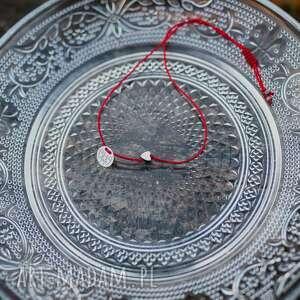 bransoletka sznurkowa srebrne serduszko hematyt, sznurkowa, sznureczkowa