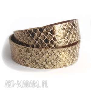 handmade bransoletka skórzana złoty wąż owijana