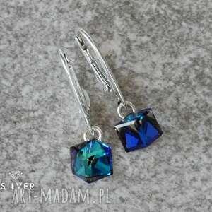 biżuteria swarovskie cube bermuda blue kolczyki, swarovski, cube, trendy