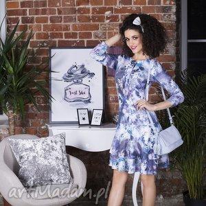 Sukienka LADY Midi Camillia, falbana, wiązanie, kwiaty, kokardka, rozkloszowana, mini