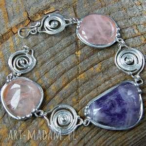 Bransoletka i naszyjnik: rózowo-fioletowy, bransoletka, naszyjnik, kamienie, ametyst
