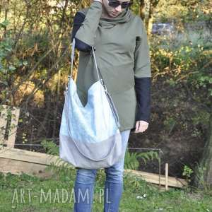torba hobo xxl - ala jeans tkanina drukowana, hobo, worek, print, alcantara