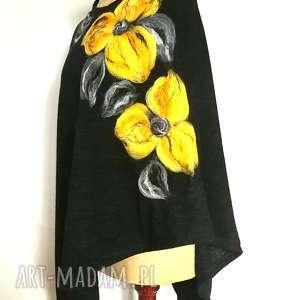 poncho z dzianiny wełnianej czarne, poncho, wełna, kwiaty, merynosy