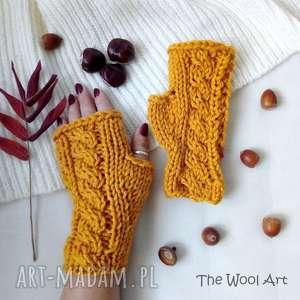 rękawiczki mitenki, rękawiczki, jesienne, wełniane, na drutach
