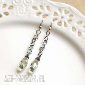 elle - kolczyki minimalistyczne z kryształkami, długie