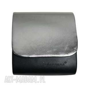Mini kopertówka koperta MANZANA klasyczna czarno srebrna, torebka, torebki, damska