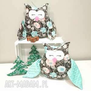ręcznie robione poduszki sowa w kwiaty, ozdobna poduszka do sypialni