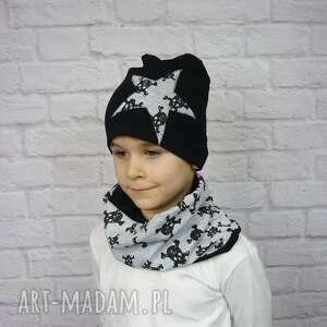 cienka czapka i komin bukiet pasji - kolorowe czapki, bawełna, chłopak