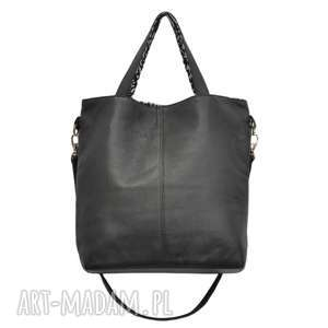 16-0020 Czarna duża torebka damska z paskiem na ramię JAY, markowe-torebki