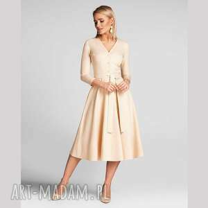 sukienka kensa total midi vanillia, midi, kremowa, za kolano