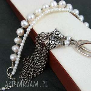 Perły komplet, perły, chwosty