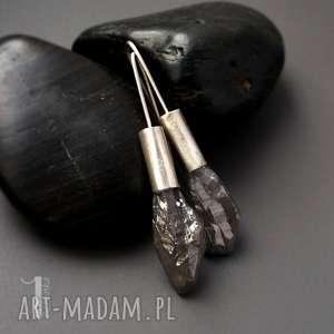 flare srebrne kolczyki z kwarcem tytanowym - długie, prezent srebro