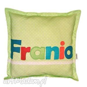 poduszka franio - imię, poduszka, bawełna, filc, koronka, kropki