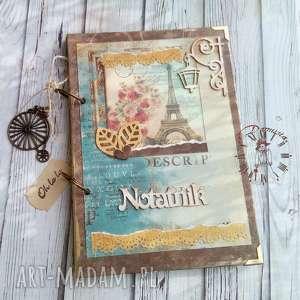 Notatnik//dziennik podróży, paryski, notatnik, wieża, eiffla, rower, pamiętnik