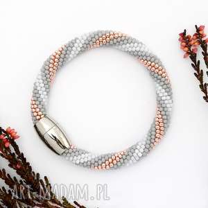 Bransoletka Koralikowa Salmon Grey , bransoletka, elegancka, koralikowa, koralików