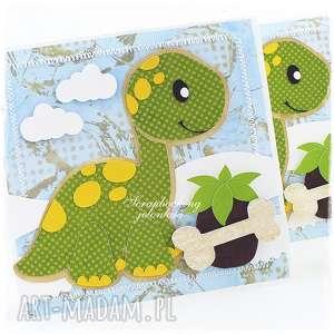 Dziecięca kartka z dinozaurem, dinozaur, kropki, chłopiec, urodziny, kartka, kość