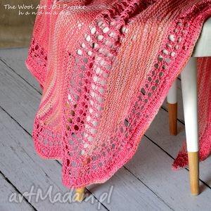 baktus, chusta, szal, różowy, prezent, na drutach