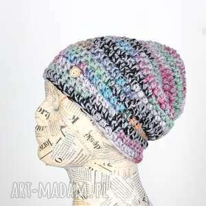 044 czapka wełna kolorowa beanie (ciepła czapka, pomysł na prezent)