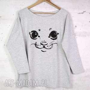 KOT Bluzka bawełniana szara z nadrukiem S/M, bluzka, koszulka, kot, kotek, nadruk