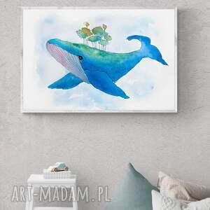 kof obraz - plakat 40 x 30 cm wieloryb, dom, dekoracja, wnętrze, wieloryb