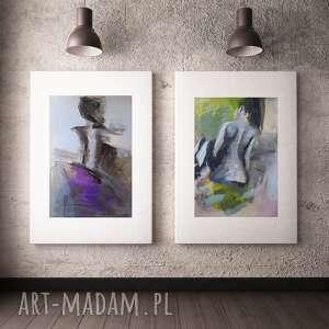 zestaw obrazów, duży obraz do salonu, grafika kobieta, niebieska