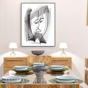 obraz na płótnie, abstrakcja czarno biała, grafika ścianę, pocałunek 1, 60 x