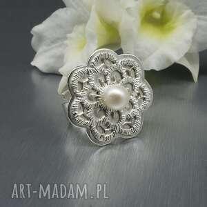 srebrny pierścionek z perłą almariel, perłą, biała perła