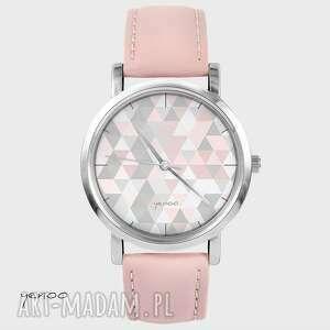 zegarek, bransoletka - geometric pastel pudrowy róż, skórzany