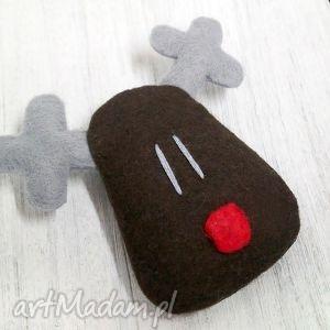 handmade upominek świąteczny renifer rudolf, broszka