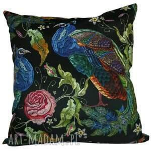 poduszki stylowa poduszka dekoracyjna z weluru, pawie, stylowa, welur drukowany