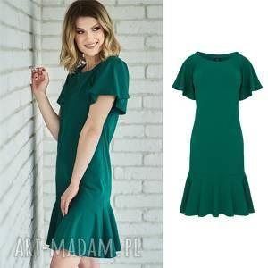 Sukienka z reglanowym rękawem | BAJKA butelkowa zieleń, sukienka, dzianina, bawełna