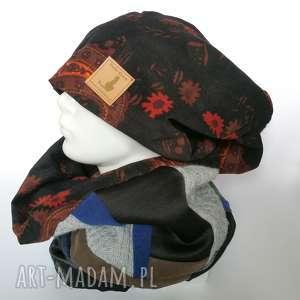 czapka damska i komin patchworkowy handmade, etno, boho, folk, kolorowy,
