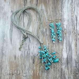 Prezent Howlit turkusowy - komplet biżuterii lnianej, boho, eko, kobieta, stylowy