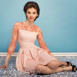 sukienka z brzoskwiniową koronką , wesele, studniówka, impreza, koronka, midi