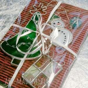 Święta prezent: Witraż świąteczny bałwanek w zielonym kapeluszu