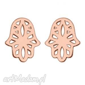 kolczyki z ażurową ręką fatimy w różowym złocie