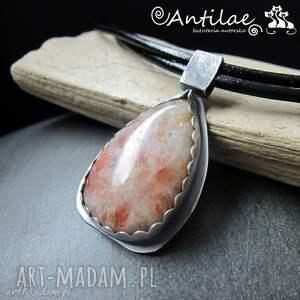 ręcznie robione naszyjniki paikeseline - kamień słoneczny, srebro, rzemień
