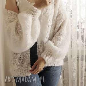 swetry tulip - biały, kardigan, ślubny, ażurowy, dziegany, delikatny, moherowy