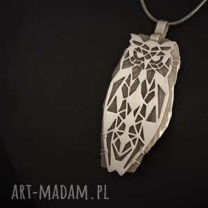 Srebrny wisior geometryczna sowa, nowoczesny, krzemień-pasiasty, srebro