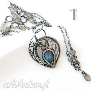 Blue bird - srebrny naszyjnik z labradorytami naszyjniki