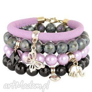lilac - violet grey & black l208 - rzemień, labradoryt, jadeit, motyl