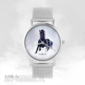 hand-made zegarki zegarek, bransoletka - czarny koń metalowy