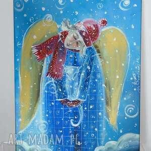 aniołek z kotkiem zima, anioł, koty, snieg