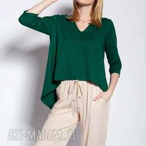 bluzki bluzka z dłuższym tyłem, blu146 zielony, bluzka, asymetryczna, dłuższy