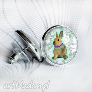 Prezent śliczne zajączki :: kolczyki wkrętki srebrne, sztyft, okrągłe, prezenty