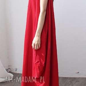 ruda klara czerwona sukienka len bawełna oversize lato, sukienka, len