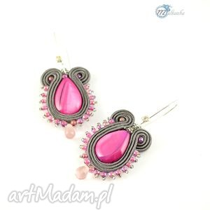Różowo-srebrne kolczyki soutache