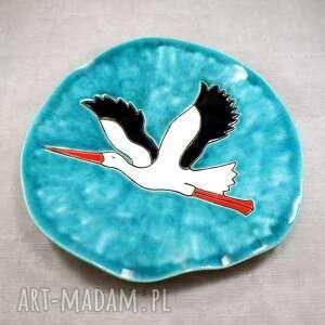 hand-made ceramika patera z bocianem