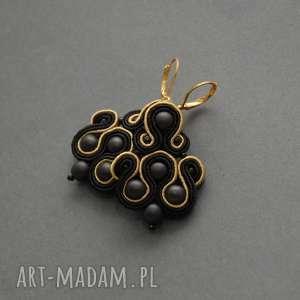 czarno-złote klipsy sutasz, sznurek, eleganckie, wieczorowe, wiszące, delikatne